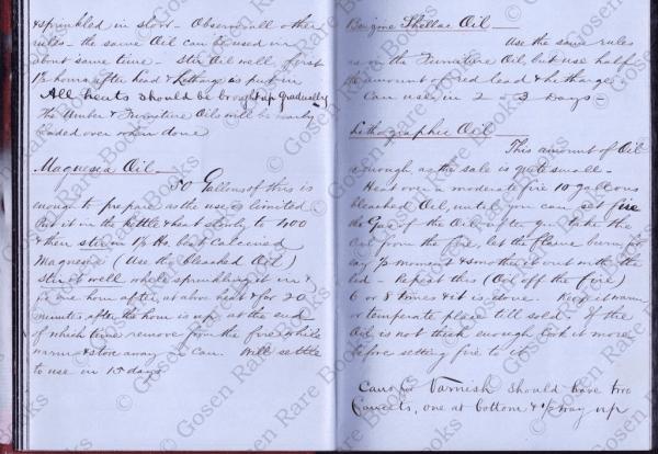 Varnish & Specialized Oils Formulary | New York 1855 -1866