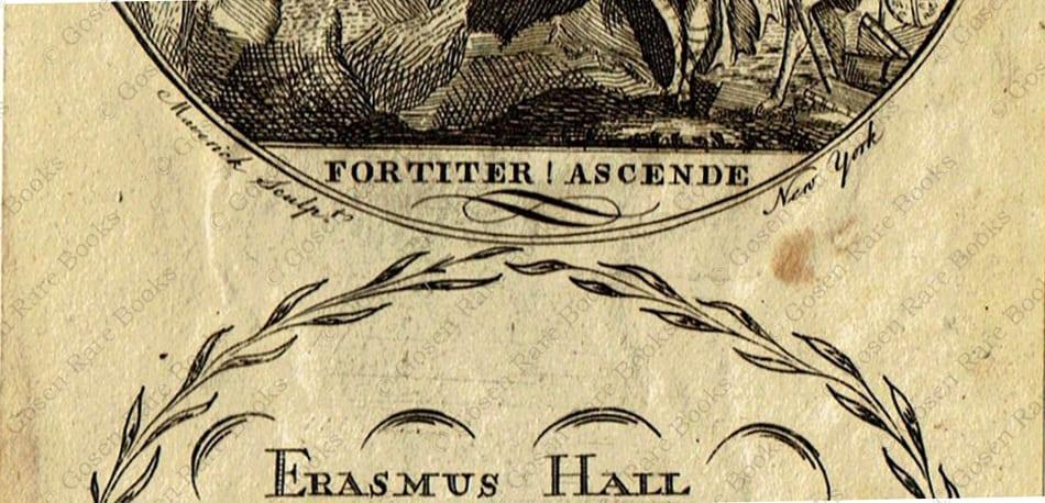Erasmus Hall Bookplate Engraved by Maverick, ca. 1780