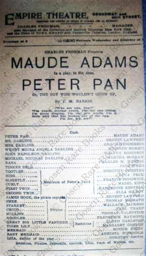 Maude Adams in Peter Pan New York 1907 Playbill