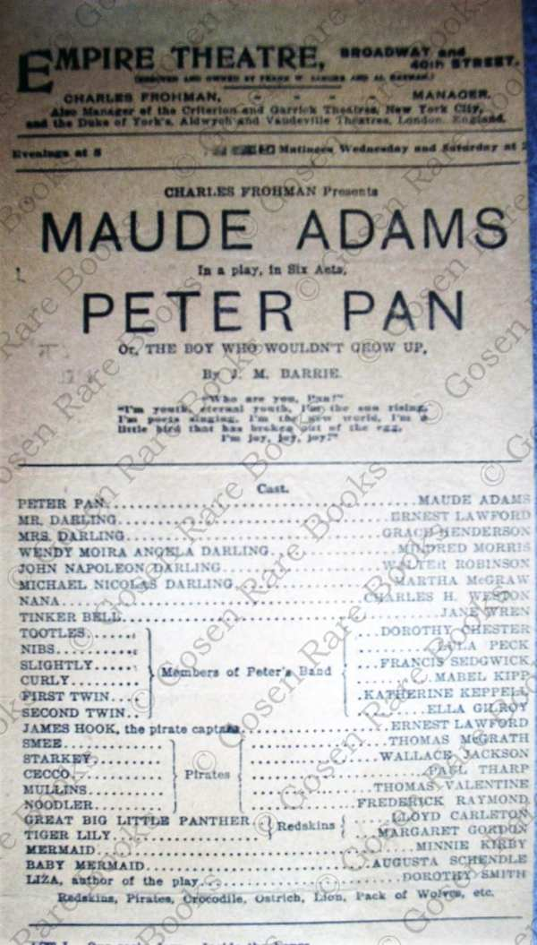 Maude Adams in Peter Pan New York 1907 Playbill