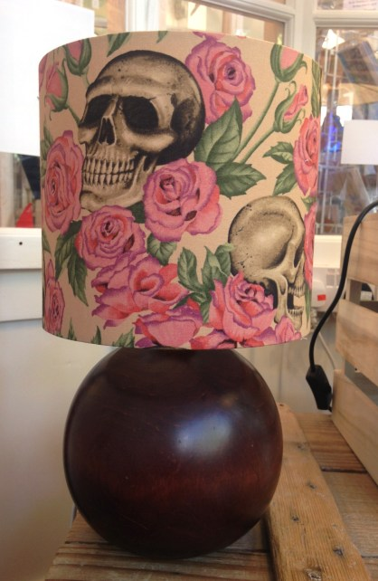 Mix and match vintage lamp with handmade shade