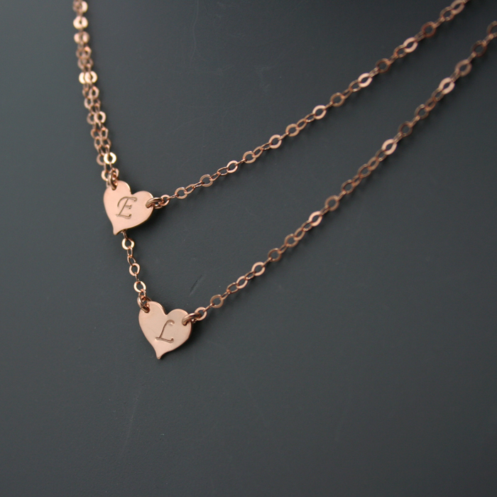Double Layered Initial Necklace Two Hearts Gosia Meyer
