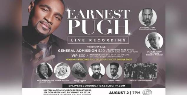 "Earnest Pugh Adds More Star-Power To ""OUTPOUR"" Live Recording"