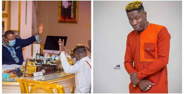 Shatta Wale Kneels before Archbishop Duncan Williams for Prayers