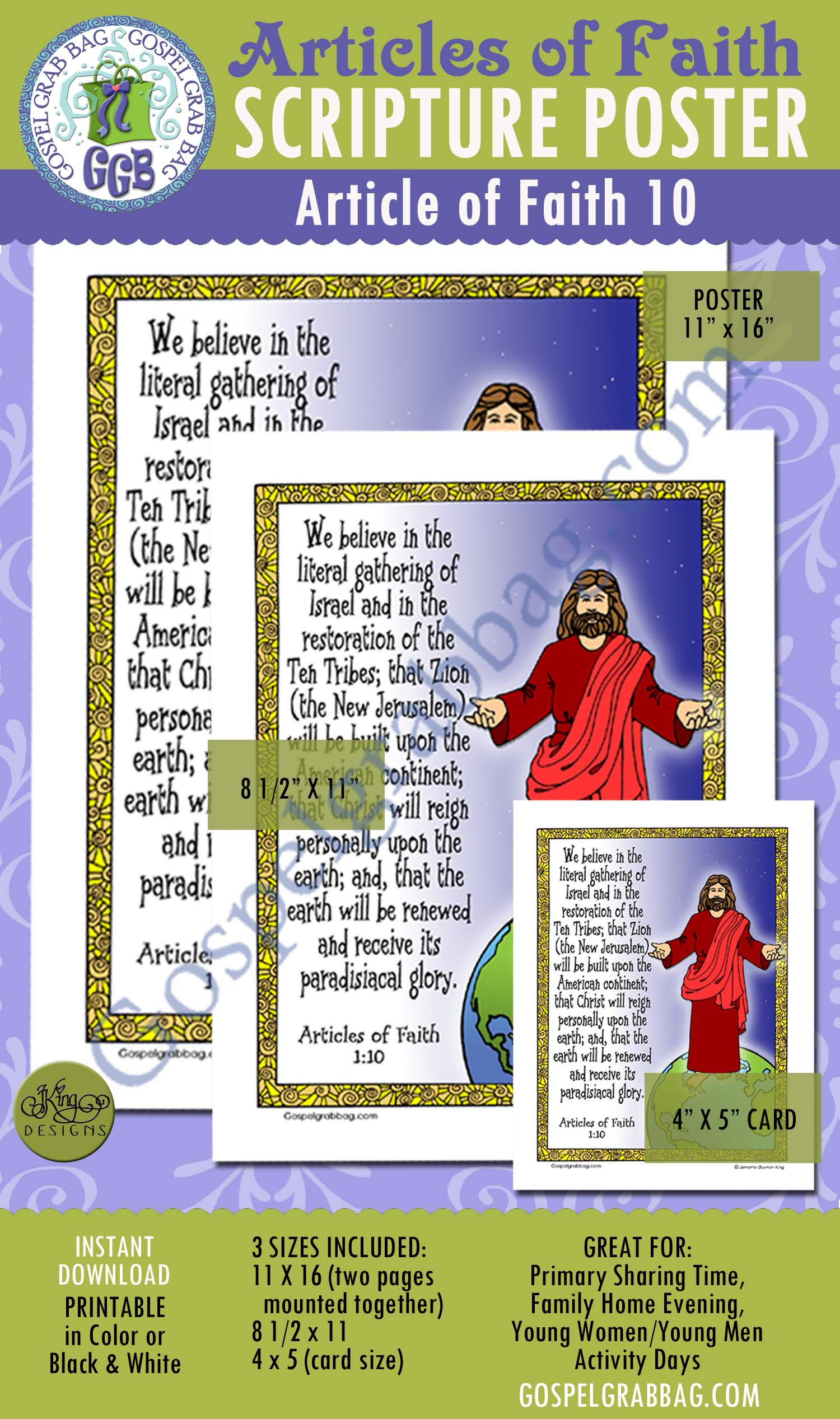 Second Coming Millennium Missionary Work Scripture Poster Articles Of Faith 1 10 Lds Lesson
