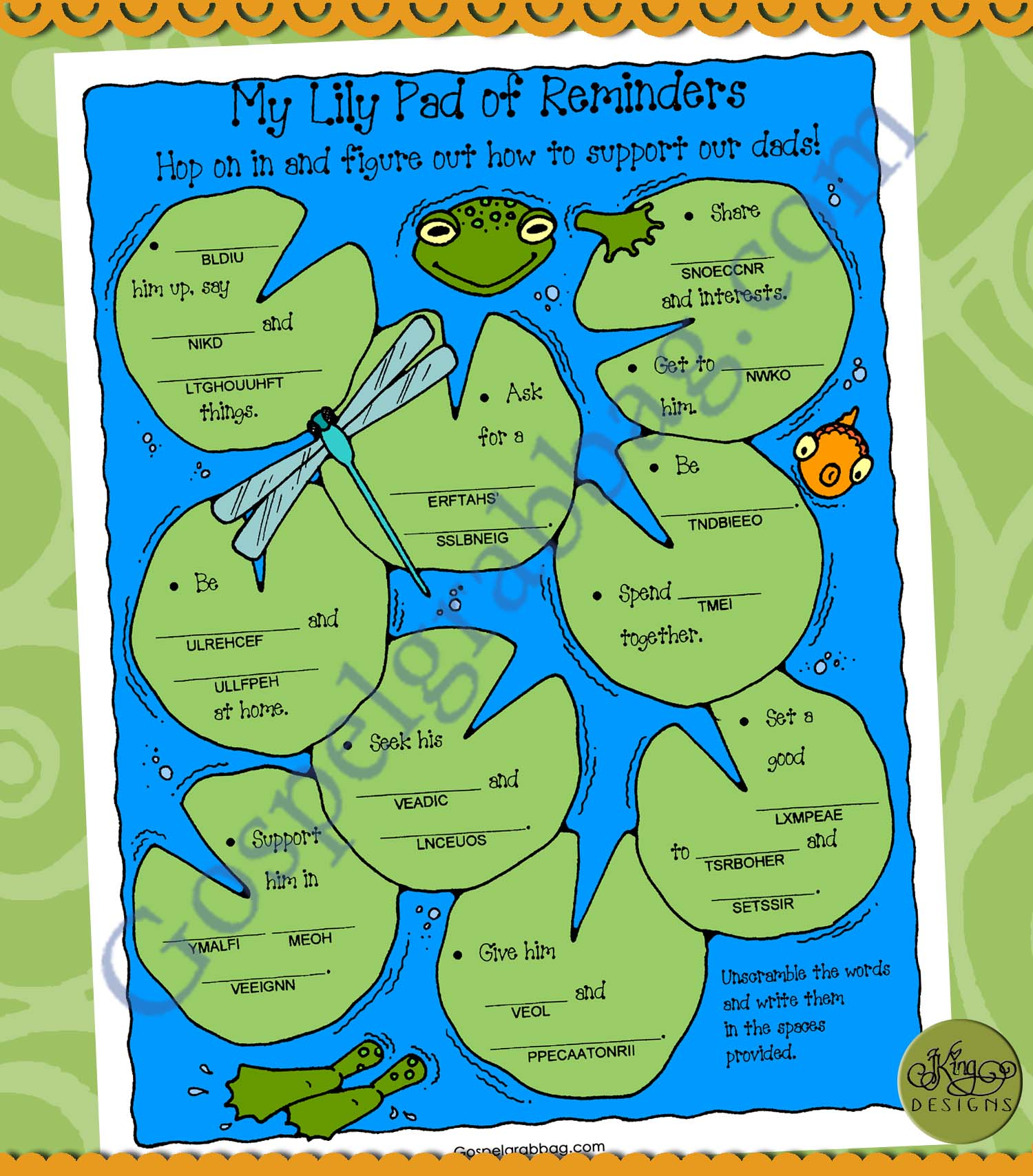 Priesthood Lds Lesson Activity Dad Support Lily Pad Reminders Wordscramble