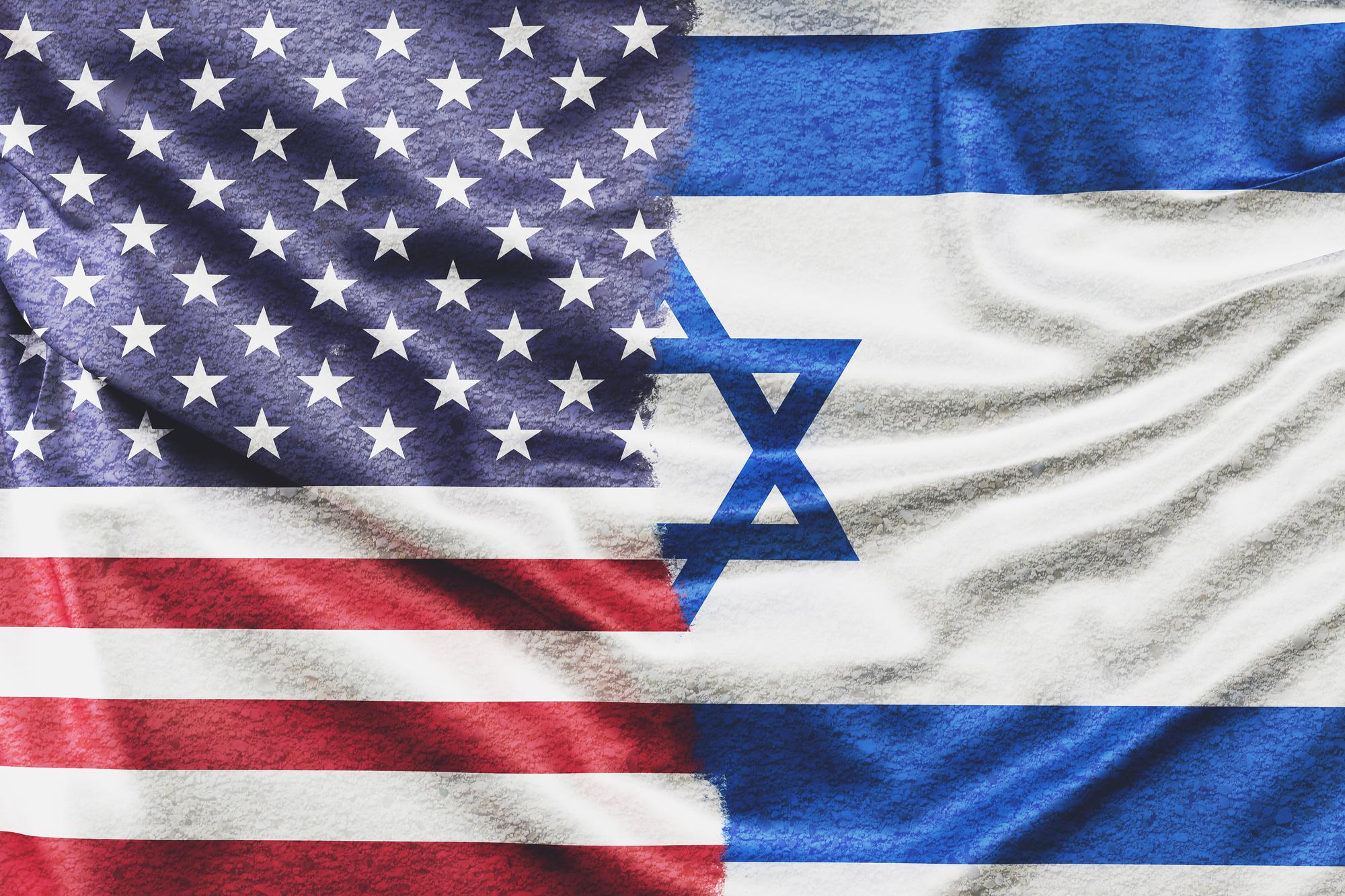 Bandeiras dos Estados Unidos e Israel