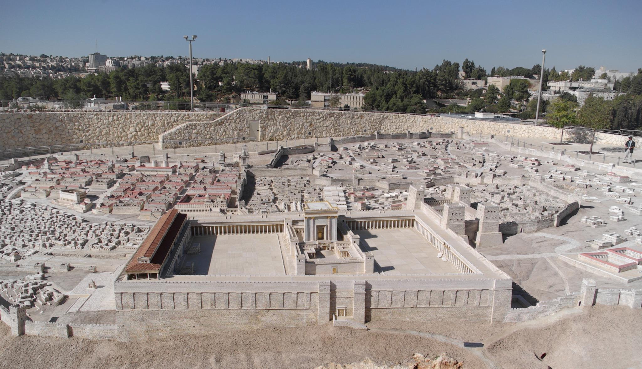 Maquete da Cidade Velha de Jerusalém no período do Segundo Templo (Wikimedia)