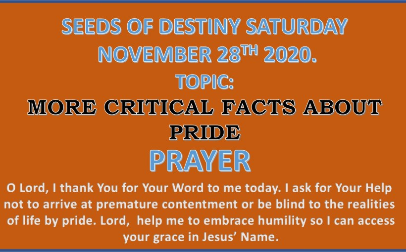 Seeds of Destiny Saturday 28th November 2020 by Dr Paul Enenche