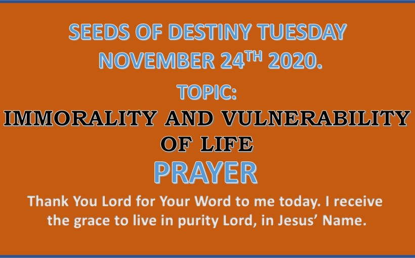Seeds of Destiny Tuesday 24th November 2020 by Dr Paul Enenche.