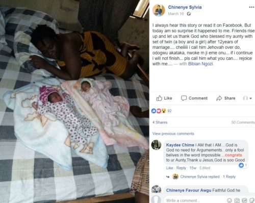 chinenye1 500x398 - Nigerian Lady Miraculously Gives Birth To A Baby Boy, Just 3 Months After Giving Birth To A Set Of Twins (2 Girls)