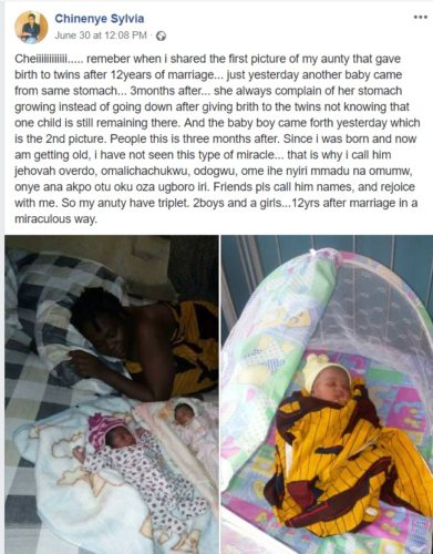 chinenye101 391x500 - Nigerian Lady Miraculously Gives Birth To A Baby Boy, Just 3 Months After Giving Birth To A Set Of Twins (2 Girls)