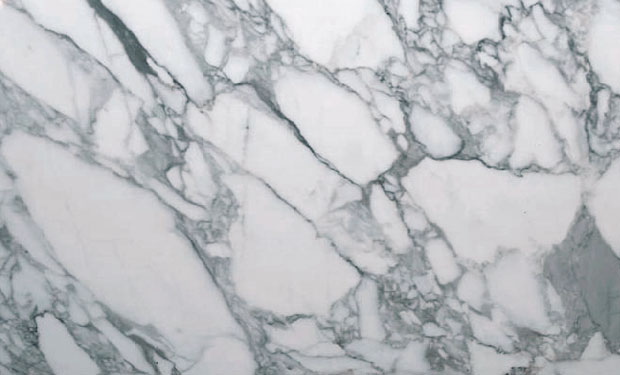 fine-grained Italian white marble of the Jurassic period, with soft grey decoration caused by graphite deposits.