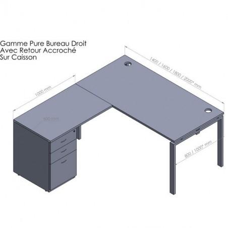 bureau d angle pure retour caisson porteur metal 60 cm et hb 80 cm