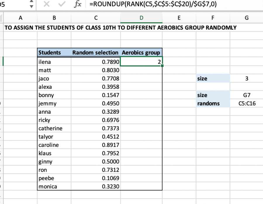 Excel Formula Randomly Assign People To Groups Excelchat
