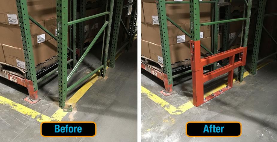 damaged warehouse pallet rack uprights