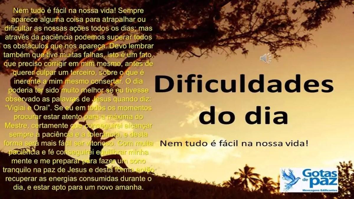 Dificuldades do dia