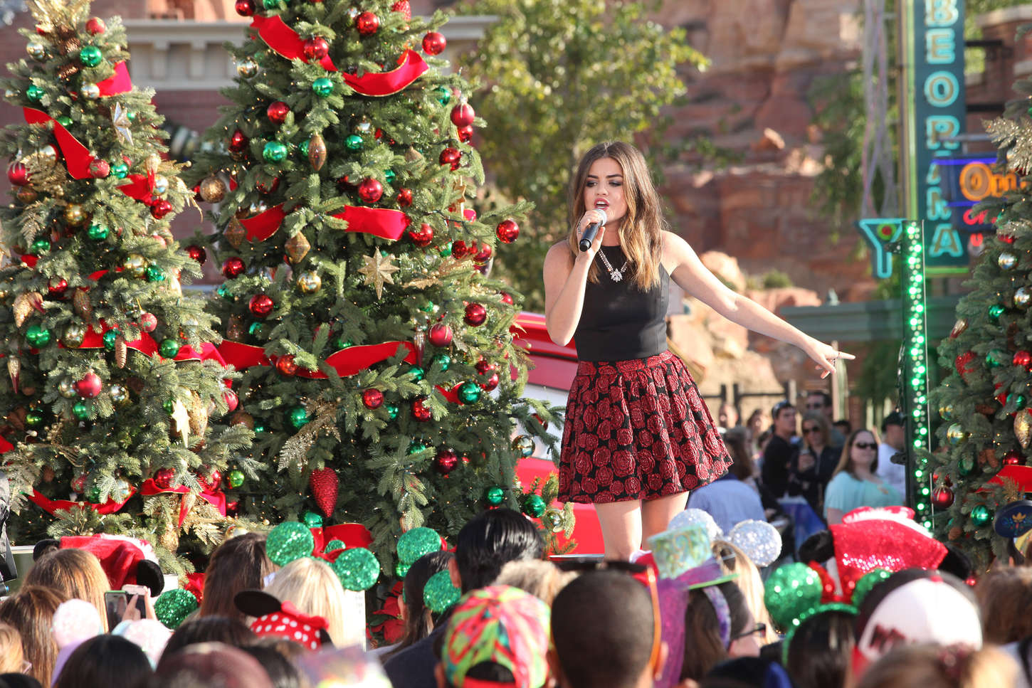 Lucy Hale Performs At Disney Frozen Christmas