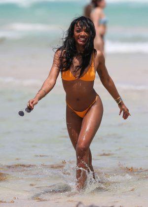 Elisa Johnson In Orange Bikini In Miami