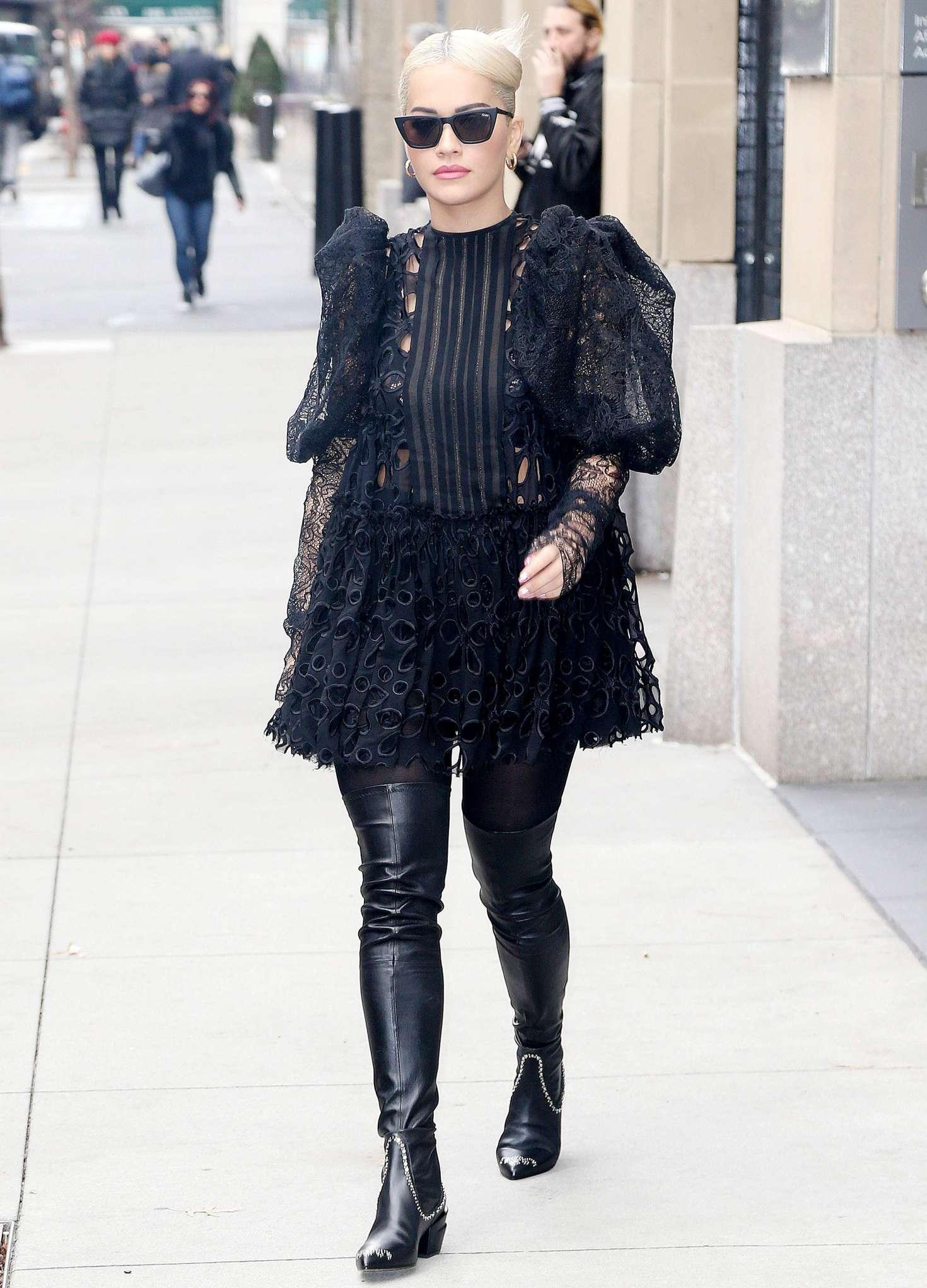 Rita Ora In Black Mini Dress Out In New York GotCeleb