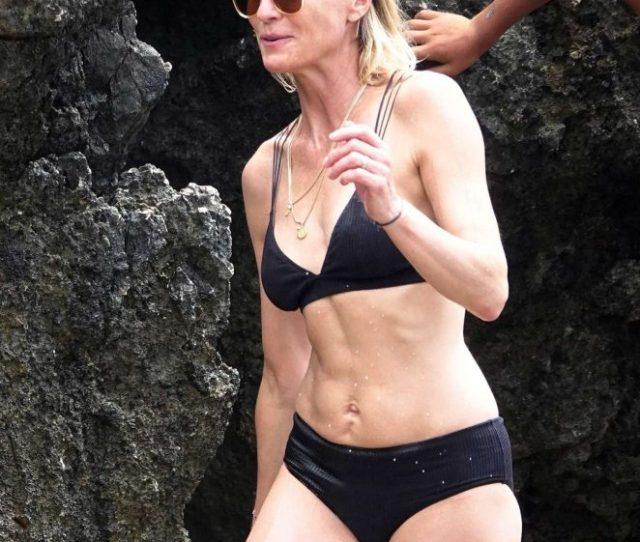 Robin Wright In Black Bikini With Clement Giraudet In Capri