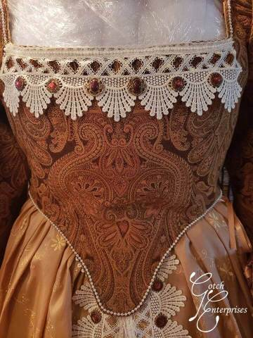 Bodice detail of custom renaissance fair gown