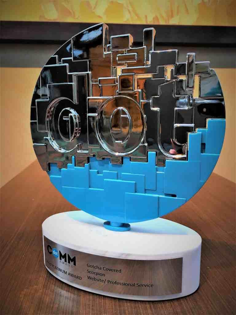 Gotcha Covered has been awarded the Dot Com Platinum Award for website design!