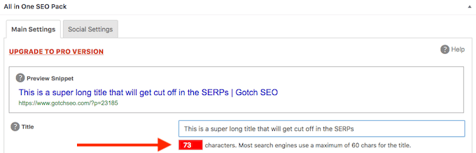 All in One SEO Pack Title Length