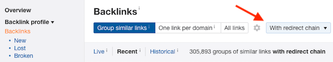 find backlink redirect chains with Ahrefs