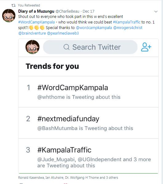 WordCamp kampala on top. Image: @ChalieBeau