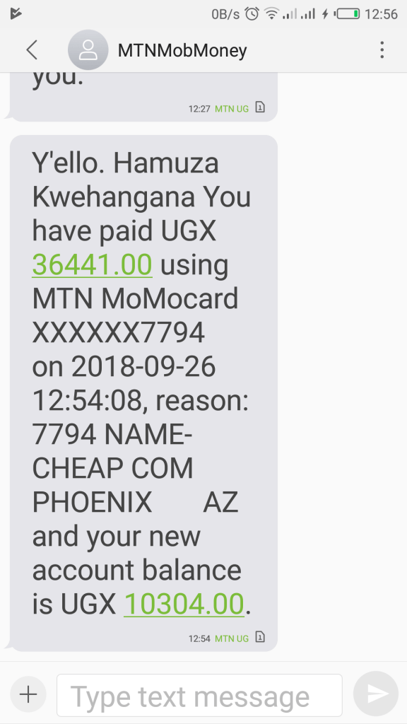 momocard payment receipt text