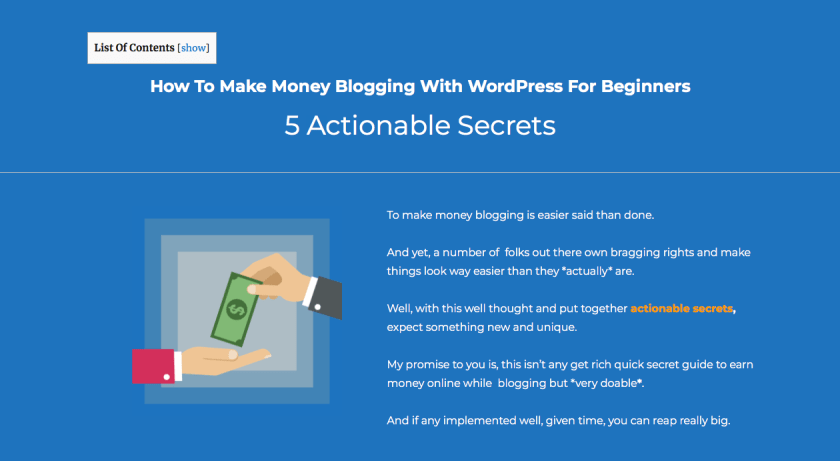 Actionable make money blogging secrets