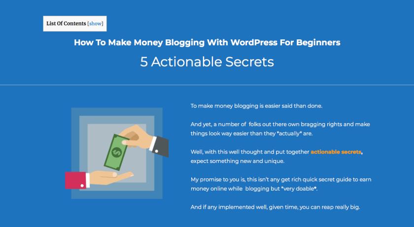 Actionable make money blogging secrets