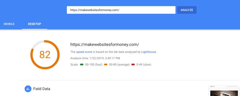 Google speed insights test