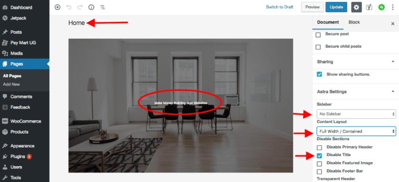 Settingup home page