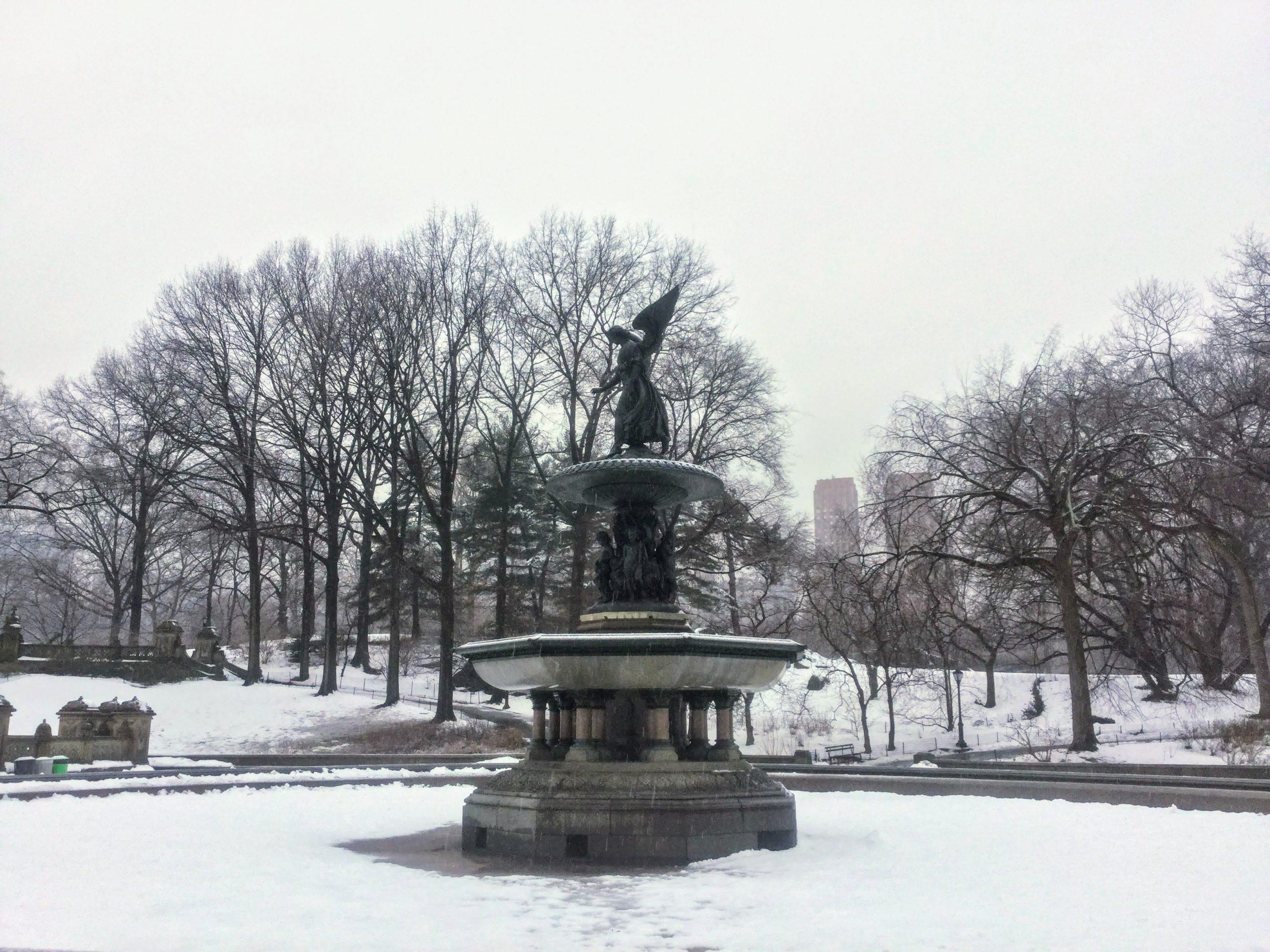 Bethesda Fountain in the snow