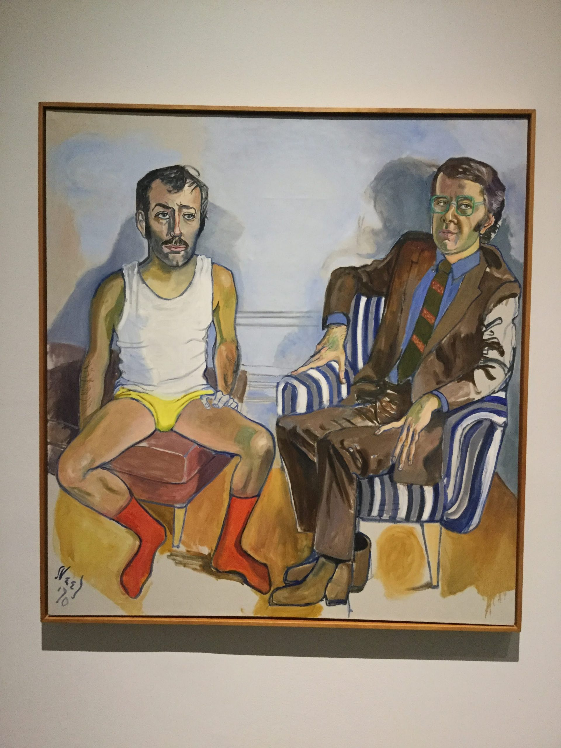 """David Bourdon and Gregory Battcock"" by Alice Neel"