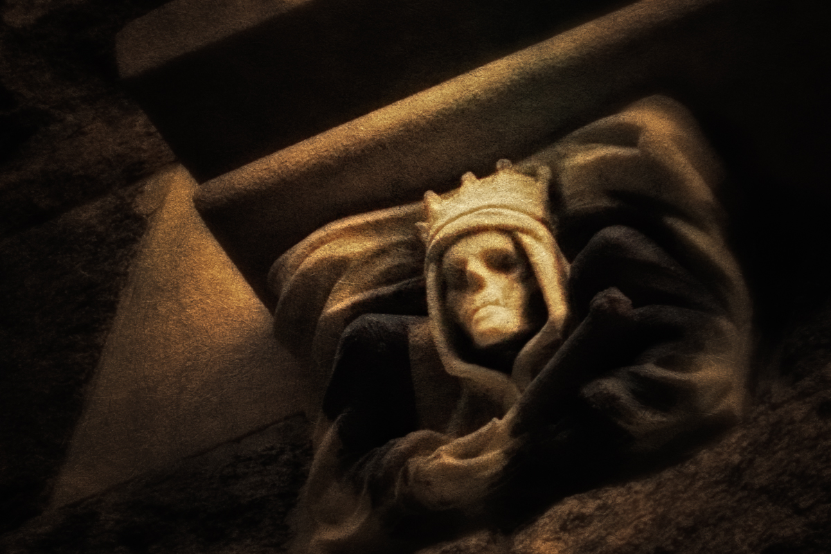 Death, a detail from Hempstead House on Long Island's Gold Coast.