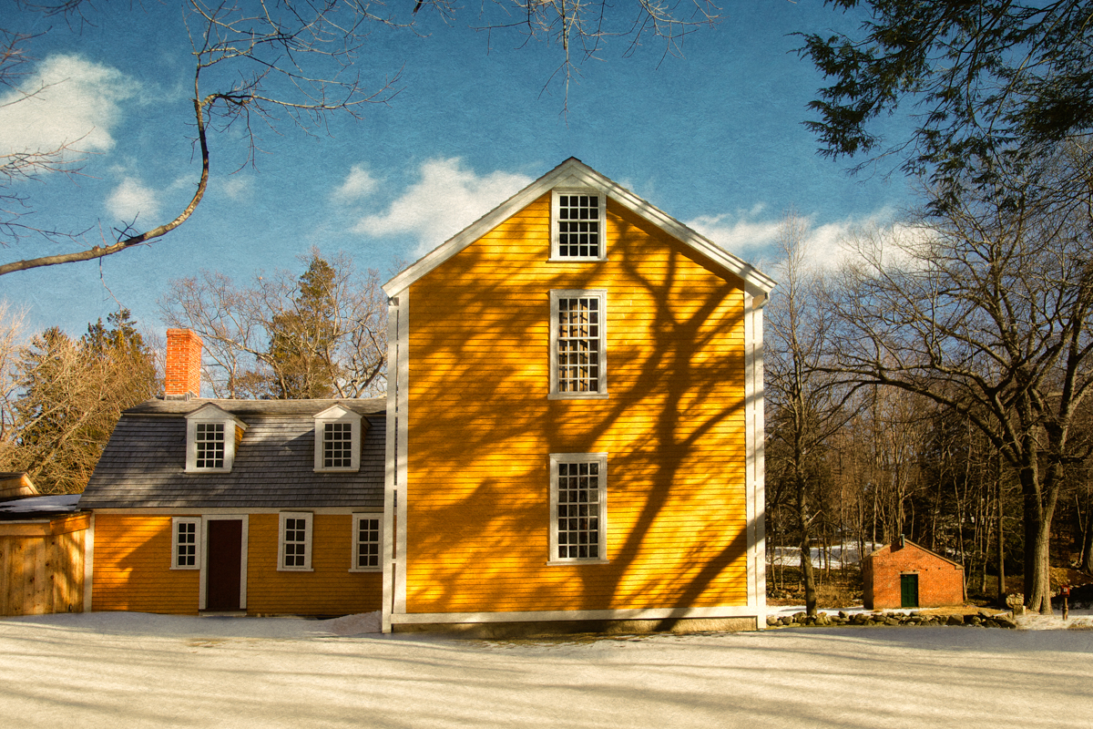 Destination of Paul Revere and William Dawes on their midnight ride, Hancock-Clarke Parsonage-Side View, c. 1737. Lexington, Middlesex County, Massachusetts