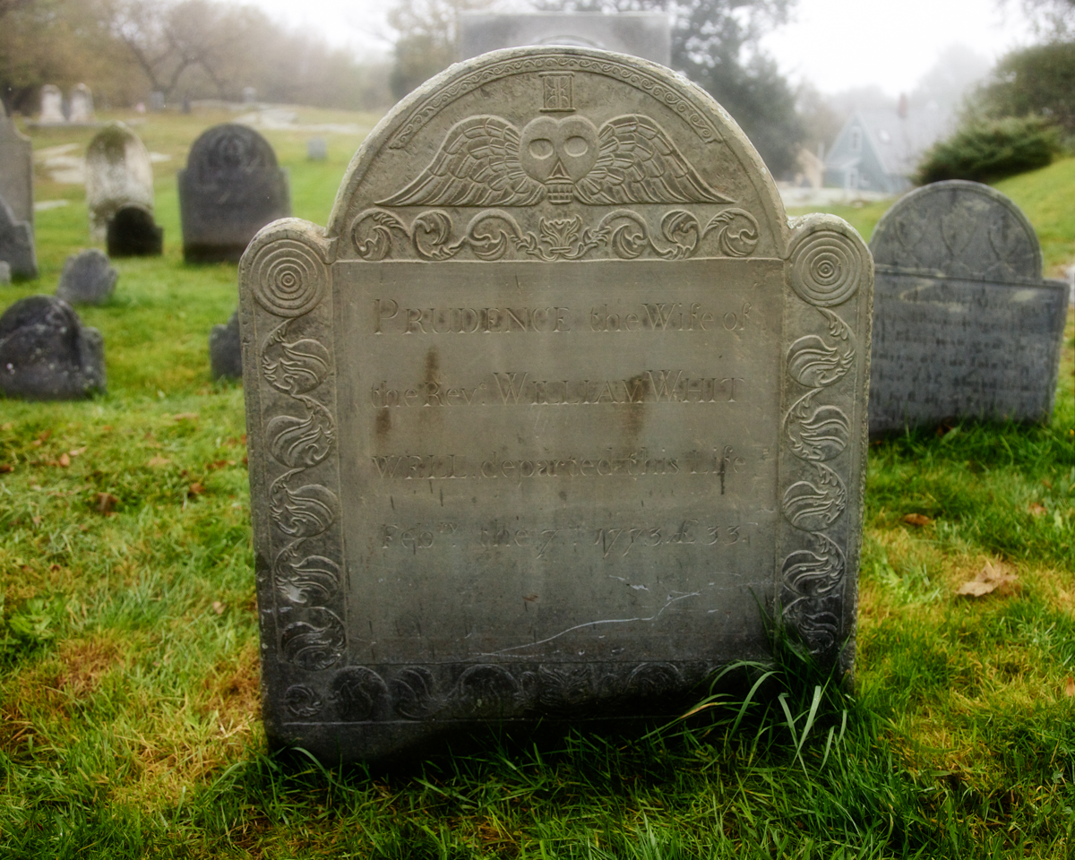Winged Skull and Hour Glass tombstone carving  Old Burial Hill, Marblehead, Massachusetts. c. 1773