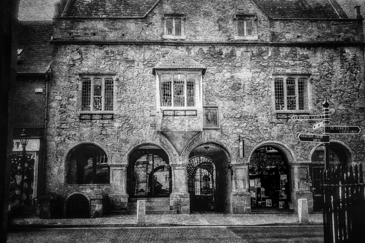 The Tholsel in the center of old Kilkenny, where the first burning of a convicted witch in Ireland took place. This structure wasn't build for several centuries after however. There is a legend that the building which stood on this spot was consumed by fire, revenge by a curse from the unfortunate victim.