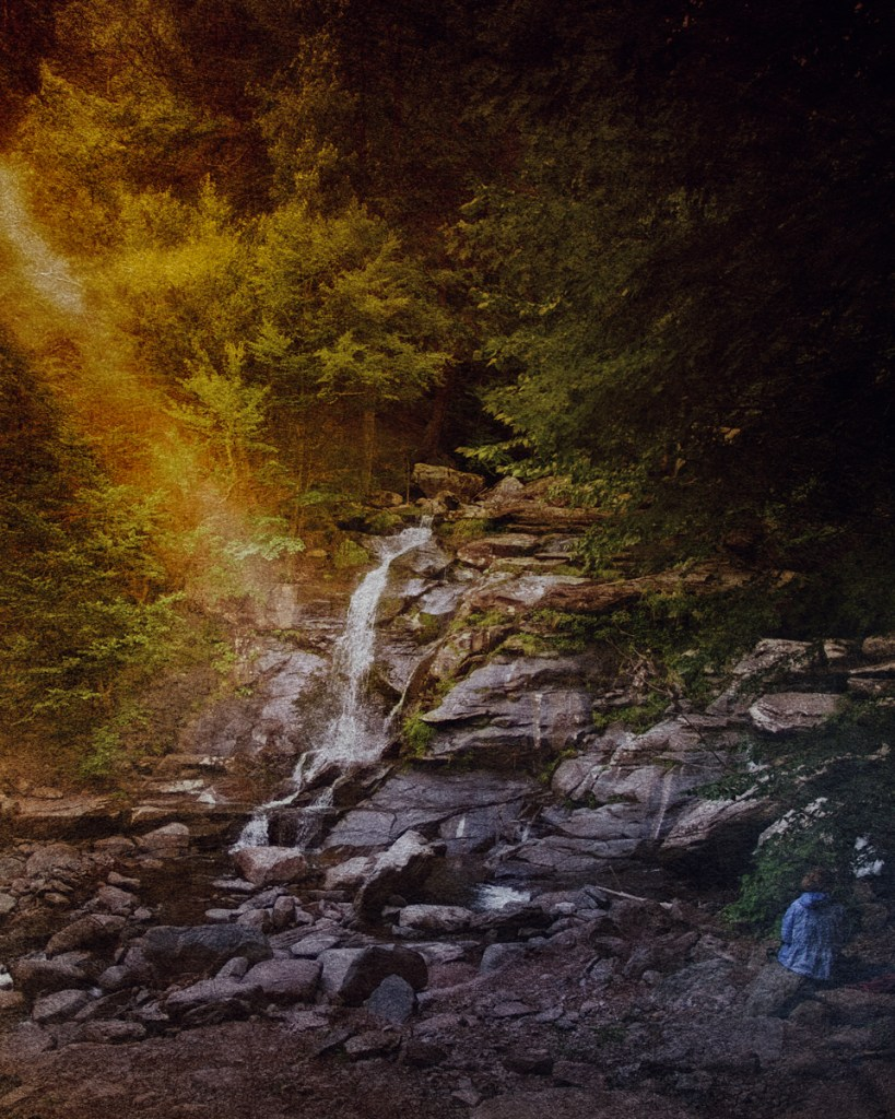 Plein air painter at Bastion Falls from Haunted Travels in the Hudson River Valley of Washington Irving