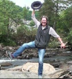 <center>Jamie George in high spirits in the highlands!</center>