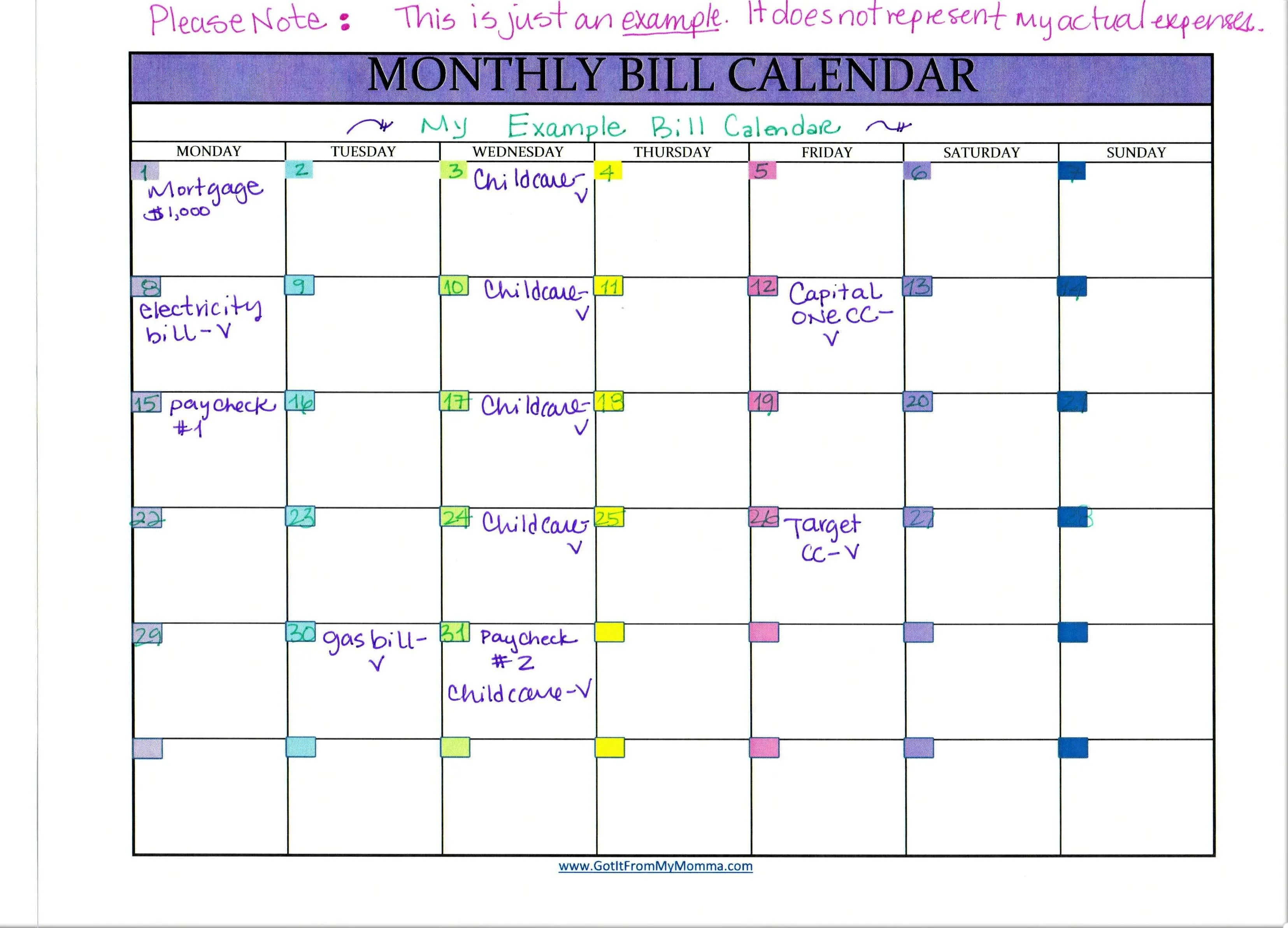 tracking your bills with a monthly bill calendar
