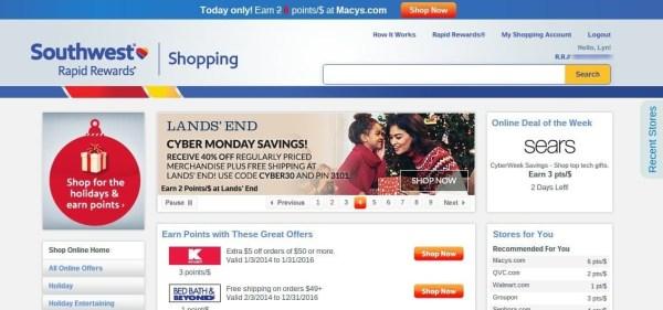 Southwest Rapid Rewards Shopping Portal