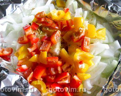 Судаки в фольге, запеченные с овощами и сыром, Шаг 02