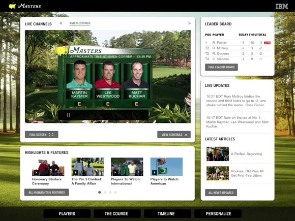 The Masters Golf Tournament app main screen