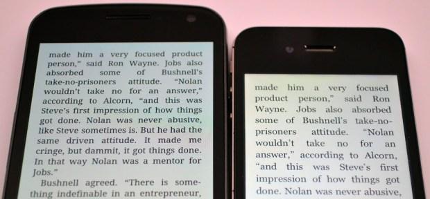 Galaxy Nexus vs iPhone 4S Display