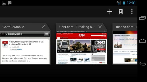 Browser Tab Thumbnails - Ice Cream Sandwich Android 4.0