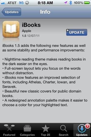 ibooks update